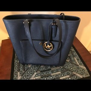 Navy Blue Leather Michael Kors Tote
